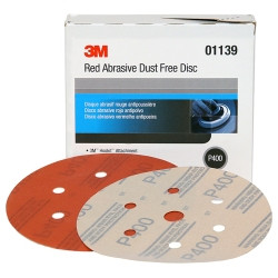 "3M 01139 Red Abrasive Hookit Disc, Dust Free, 6"", P400 Grit, 50 Per Box"