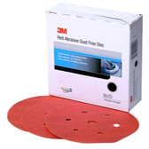 "3M 01148 Red Abrasive Hookit Disc, Dust Free, 6"", 40 Grit, 25 Per Box"
