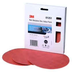 "3M 01251 Red Abrasive Stikit Disc Value Pack, 6"", P400 Grit 25 Per Pack"