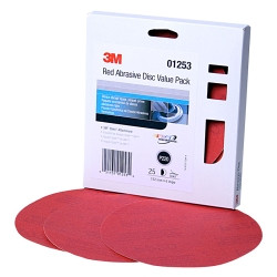 "3M 01253 Red Abrasive Stikit DiscValue Pack, 6"", P220 Grit, 25 Per Pack"