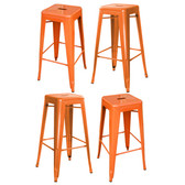 Amerihome BS030ORNGSET  Loft Orange Metal Bar Stool - 4 Piece