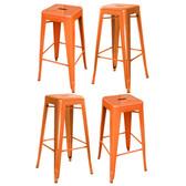Amerihome BS030ORNGSET  Loft Orange Metal Bar Stool - 4 Piece