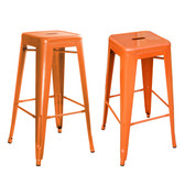 Amerihome BS030ORNG2PK  Loft Orange Metal Bar Stool - 2 Piece