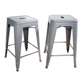 Amerihome BS24SLVR  Loft Silver 24 Inch Metal Bar Stool - 2 Piece
