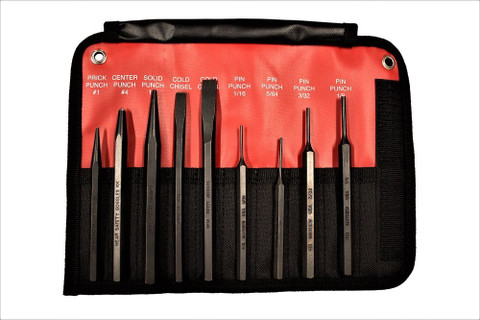 Mayhew 61409 9 - Piece Hardened Steel Punch & Chisel Set