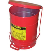Justrite 09100 Red Galvanized Steel Oily Waste Safety Can w/Foot Lever - 6 Gal