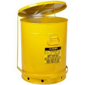 Justrite 09701 21 Gallon Oily Waste Can With Foot Lever, Yellow