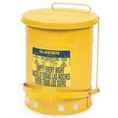 Justrite 09101 Oil Waste Can, Six Gallon, Yellow
