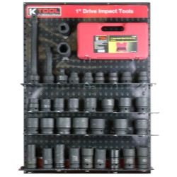 "K Tool 0849 1"" Drive Impact Tools Display - Ratchets, Sockets, Extensions, more"