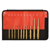Mayhew Tools 61387 10 Piece Brass Pin Punch Set, Metric