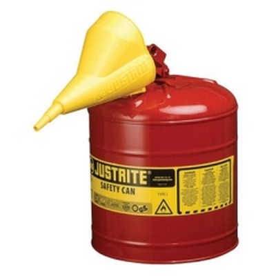 Justrite 7150110 Red Metal Safety Can, Type 1, Five Gallon, With Yellow Plastic Funnel, for Gasoline