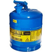 Justrite 7150300 Blue Metal Safety Can, Type 1, Five Gallon Capacity, for Kerosene and Other Flammable Liquids