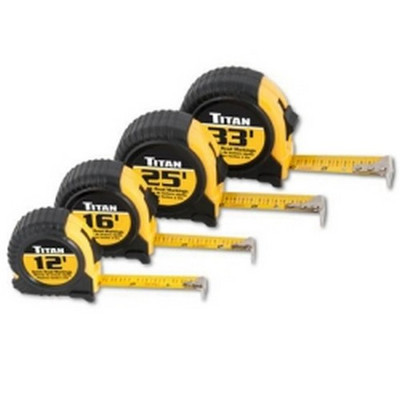 Titan Tools 10902 Tape Measure Set, Quick Read, Cushioned, 4 Piece, Contains 12', 16', 25' And 33' Tapes