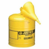 Justrite 7150210 Yellow Metal Safety Can, Type 1, Five Gallon, with Yellow Plastic Funnel, for Diesel Fuel