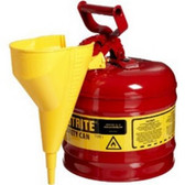 Justrite 7120110 Red Metal Safety Can, Type 1, Two Gallon, with Yellow Plastic Funnel, for Gasoline