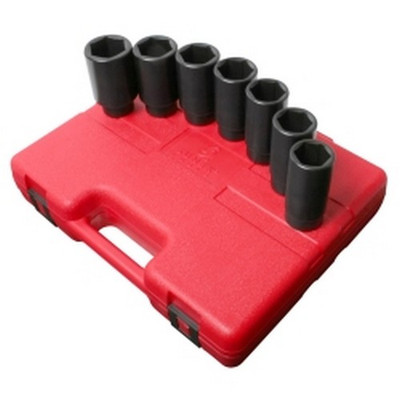 "Sunex Tools 2839 7 Piece 1/2"" Drive Metric Deep Spindle Nut Impact Socket Set"