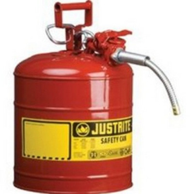"Justrite 7220120 Red Metal Safety Can, Type ll, Two Gallon Capacity, with 5/8"" x 9"" Flexible Metal Hose, for Gasoline"