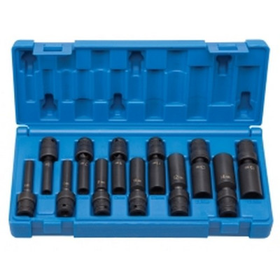 "Grey Pneumatic 9712UMD 1/4"" Drive 12 Piece Deep Universal Metric Set"