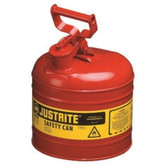 Justrite 7120100 Red Metal Safety Can, Type 1, Two Gallon Capacity, for Gasoline and Other Flammable Liquids