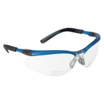 3M 11475 BX Reader Safety Glasses with I/O Mirror Lens, Blue Frame and +2.5 Diopter