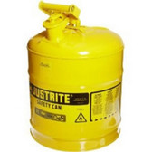 Justrite 7150200 Yellow Metal Safety Can, Type 1, Five Gallon Capacity, for Diesel Fuel and Other Flammable Liquids