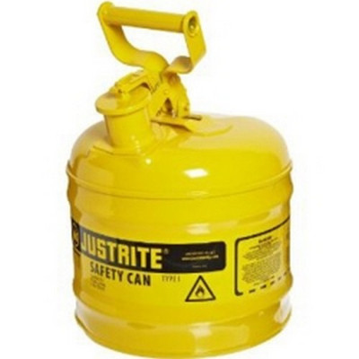 Justrite 7120200 Yellow Metal Safety Can, Type 1, Two Gallon Capacity, for Diesel Fuel and Other Flammable Liquids