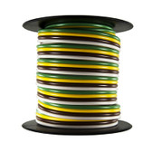 JT&T 2522F White/Brown/Yellow/Green 16 Gauge 25' 4-Way Bonded-Trailer Wire