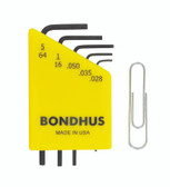"Bondhus 12243 5pc Micro Mini Hex L Wrench Set SAE 5/64"" to .028"