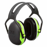 3M X4A Peltor X-Series Over-the-Head Earmuffs, NRR 27 dB, Black/Chartreuse