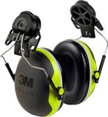 3M X4P3E Peltor XSeries CapMount Earmuffs, NRR 25 dB, Black/Chartreuse