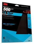 "3M 32037 Imperial Wetordry 9"" x 11"" P500 Grit Sandpaper Sheets 5/PK"