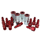 "Milton S314MKIT ColorFit Coupler & Plug Kit - (M-Style, Red) - 1/4"" NPT 14-Piece"