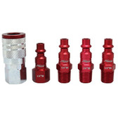 "Milton S305MKIT ColorFit Coupler & Plug Kit - (M-Style, Red) - 1/4"" NPT, 5-Piece"