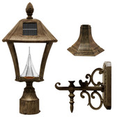 Gama Sonic GS-106FPW-WB Baytown Solar LED outdoor light fixture Weathered Bronze