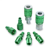 ColorConnex A71457B Coupler & Plug Kit (7 Piece), ARO Type B, 1/4 in. NPT, Green