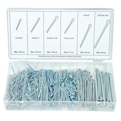 "K Tool 00075 Cotter Pin Assortment- 555 Piece 1/16"" x 1 to 5/32 x 2-1/2"""
