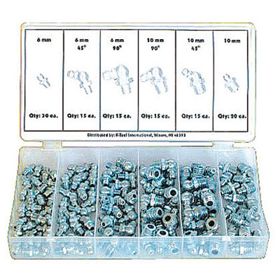 K Tool 00096 Grease Fitting Assortment Metric- 110 Piece