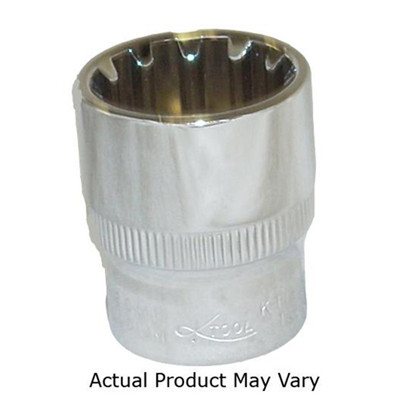 "K Tool 20715 Chrome Spline Socket 3/8"" Drive 15mm"