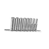 "K Tool 21200 Chrome Socket Set, 1/4"" Drive, 8 Piece, 3/16"" to 1/2"", Deep, 6 Point, on Clip Rail"