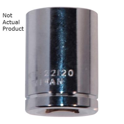 "K Tool 22122 Chrome Socket, 3/8"" Drive, 11/16"", 6 Point, Shallow"