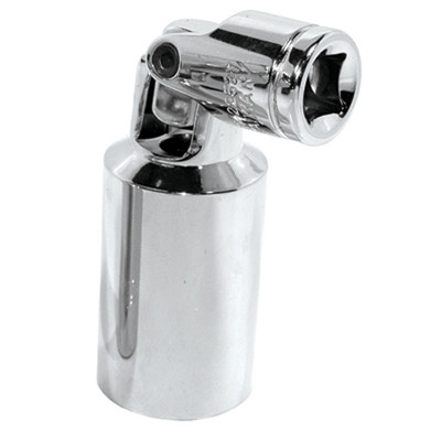 """K Tool 22527 Chrome Spark Plug Socket, 3/8"""" Drive, 13/16"""", Universal, 6 Point, Deep, with Rubber Insert"""