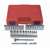 "K Tool 22547 Socket Set Chrome 47 Piece 3/8"" Drive 12 Point Fractional and Metric"