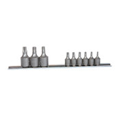 "K Tool 22800 Socket Set, 9 Piece, 1/4"" and 3/8"" Drive, T10 to T50 Internal Torx, on Clip Rail"