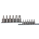 "K Tool 22801 Socket Set, 12 Piece, 1/4"" and 3/8"" Drive, T10 to T60 Internal Torx, on Clip Rail"