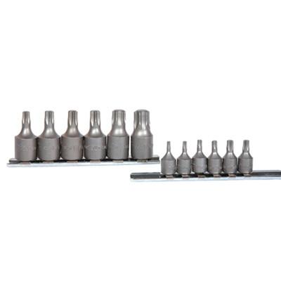 "K Tool 22801 Socket Set, 12 Piece, 1/4"" and 3/8"" Drive, T10 to T60 Internal Torx, on Clip Rail"