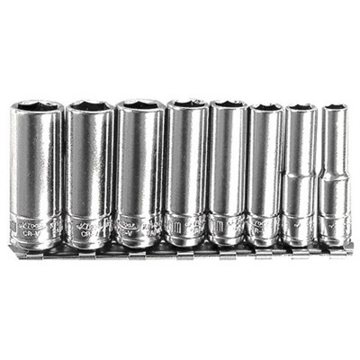"K Tool 26200 Chrome Socket Set, 1/4"" Drive, 8 Piece, 6mm to 13mm, Deep, 6 Point, on Clip Rail"