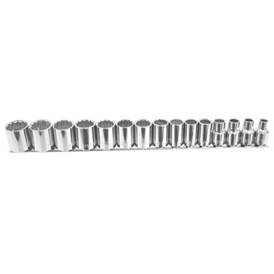 "K Tool 27501 Chrome Socket Set, 3/8"" Drive, 15 Piece, 12 Point, 7mm to 21mm, Shallow, on Clip Rail"