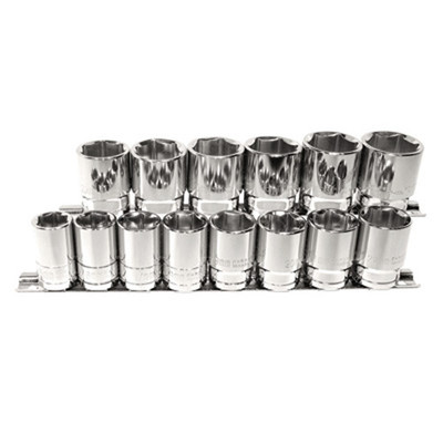 "K Tool 28100 Chrome Socket Set, 1/2"" Drive, 14 Piece, 15mm to 28mm, 6 Point, Shallow, on Clip Rail"