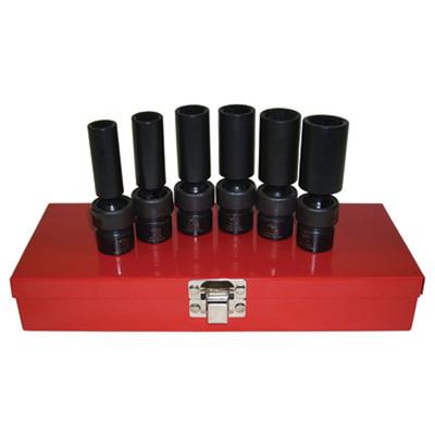 "K Tool 32400 Impact Socket Set, 3/8"" Drive, 6 Piece, 7/16"" to 3/4"", 6 Point, Flex, Deep"