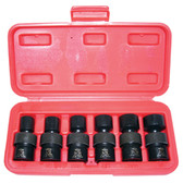 "K Tool 32500 Impact Socket Set, 3/8"" Drive, 6 Piece, 7/16"" to 3/4"", 6 Point, Flex, Shallow"
